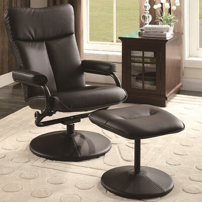 Carles Recliner with Ottoman Upholstery: Brown