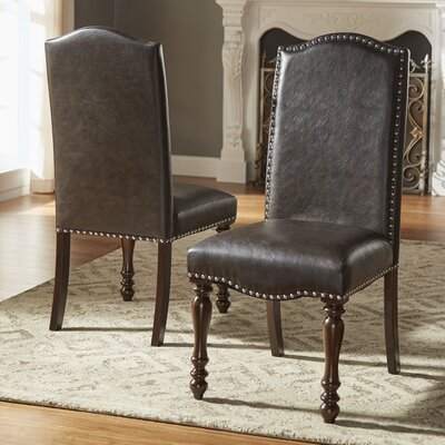 Hilliard Side Chair Upholstery Type- Color: Faux Leather- Black