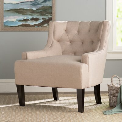 Barwood Tufted Accent Wingback Chair Upholstery: Beige