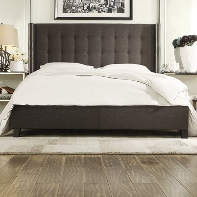 Obsidian Upholstered Platform Bed Size: Queen