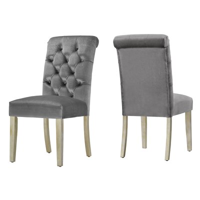 Daina Rolled Top Tufted Solid Wood Dining Chair Upholstery: Silver Velvet