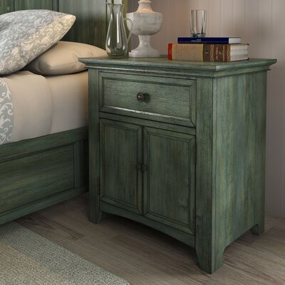 Sefton 1 Drawer Nightstand Color: Dark Sea Green