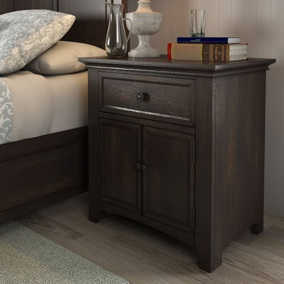 Sefton 1 Drawer Nightstand Color: Black