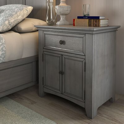 Sefton 1 Drawer Nightstand Color: Antique Gray