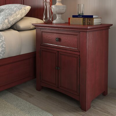Sefton 1 Drawer Nightstand Color: Berry Red