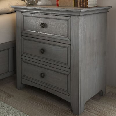 Sefton 3 Drawer Nightstand Finish: Antique Gray