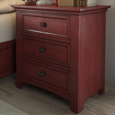 Sefton 3 Drawer Nightstand Finish: Berry Red