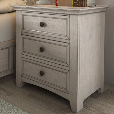 Sefton 3 Drawer Nightstand Color: Antique White
