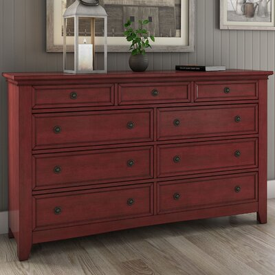 Sefton 9 Drawer Dresser Color: Berry Red