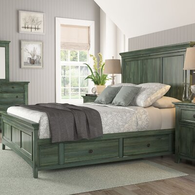 Wooden Sefton Queen Panel Bed Color: Dark Sea Green