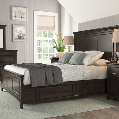 Wooden Sefton Queen Panel Bed Color: Black