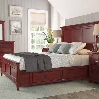 Wooden Sefton Queen Panel Bed Color: Berry Red
