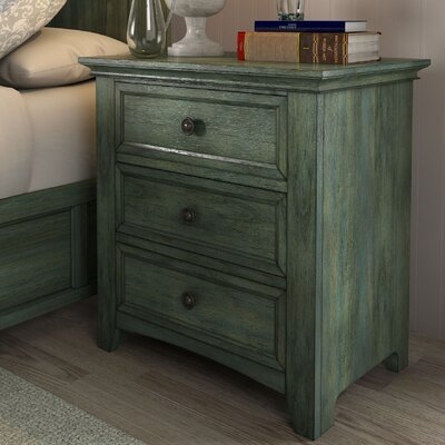 Sefton 3 Drawer Nightstand Color: Dark Sea Green