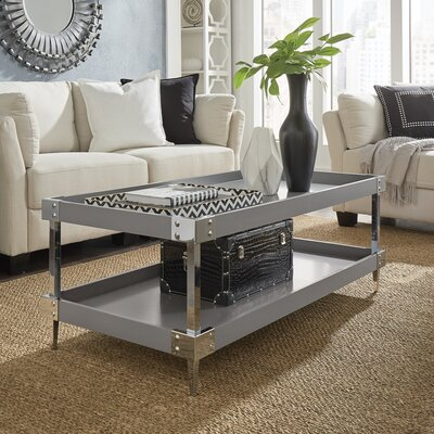 Blais Coffee Table With Tray Top Color: Gray, Hardware Color: Chrome