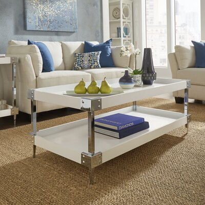 Blais Coffee Table With Tray Top Color: White, Hardware Color: Chrome