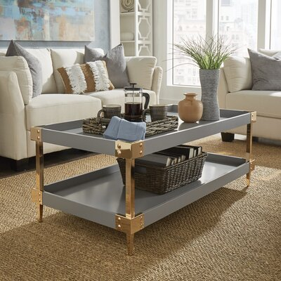 Blais Coffee Table With Tray Top Color: Gray, Hardware Color: Gold