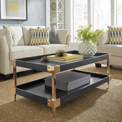 Blais Coffee Table With Tray Top Color: Navy Black, Hardware Color: Gold
