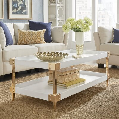 Blais Coffee Table With Tray Top Color: White, Hardware Color: Gold