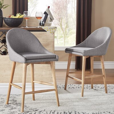 Evianna Natural Finish Counter Height Chair (Set of 2) Size: Grey Linen 24H