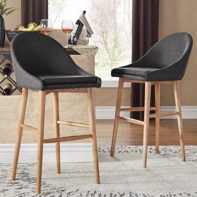 Evianna Natural Finish Counter Height Chair (Set of 2) Size: Dark Grey Linen 29H