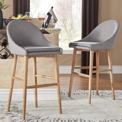 Evianna Natural Finish Counter Height Chair (Set of 2) Size: Grey Linen 29H