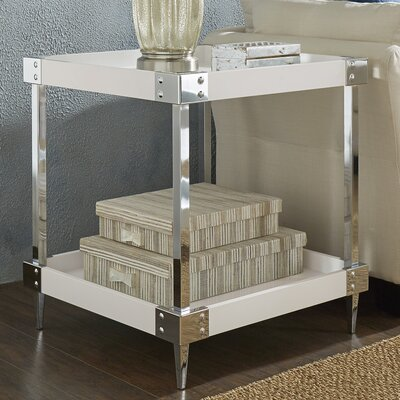 Blais End Table Finish: White, Hardware Finish: Chrome