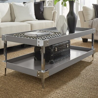 Blais Coffee Table With Tray Top Finish: Gray, Hardware Finish: Chrome