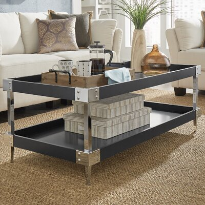 Blais Coffee Table With Tray Top Finish: Black, Hardware Finish: Chrome