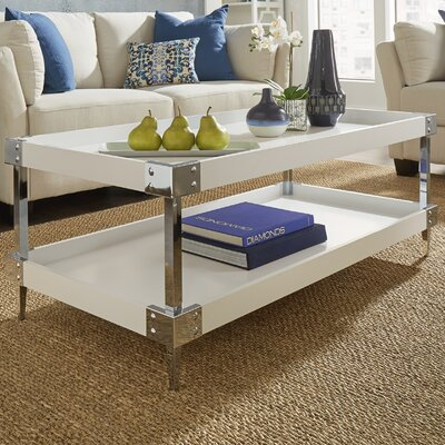 Blais Coffee Table With Tray Top Finish: White, Hardware Finish: Chrome