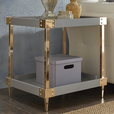 Blais End Table Finish: Gray, Hardware Finish: Gold