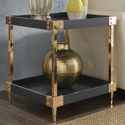 Blais End Table Color: Black, Hardware Color: Gold