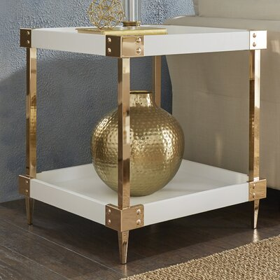 Blais End Table Color: White, Hardware Color: Gold
