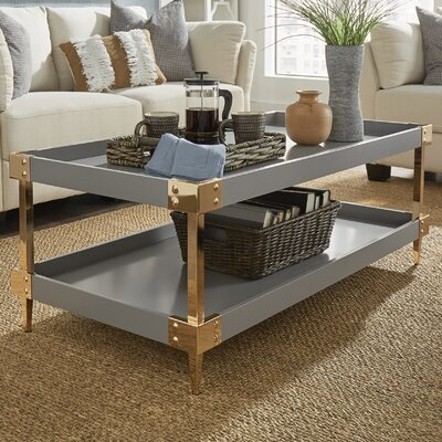 Blais Coffee Table With Tray Top Finish: Gray, Hardware Finish: Gold