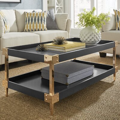 Blais Coffee Table With Tray Top Finish: Black, Hardware Finish: Gold