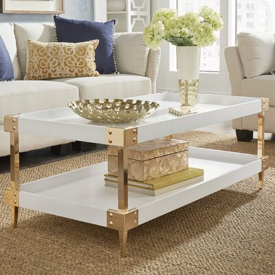 Blais Coffee Table With Tray Top Finish: White, Hardware Finish: Gold
