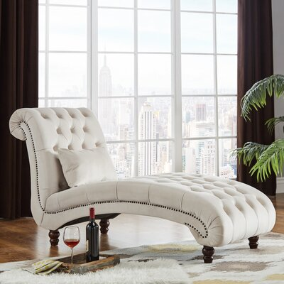 Sagebrush Tufted Chaise Lounge Upholstery : Beige