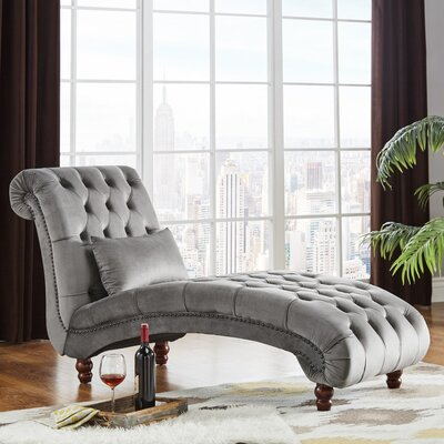 Sagebrush Tufted Chaise Lounge Upholstery : Gray