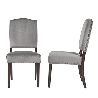 Pompon Velvet Nailhead Upholstered Dining Chair Upholstery Color: Gray