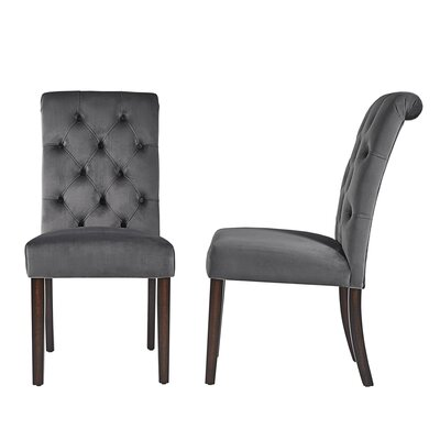 Pompon Rolled Top Tufted Upholstered Dining Chair Upholstery Color: Dark Gray