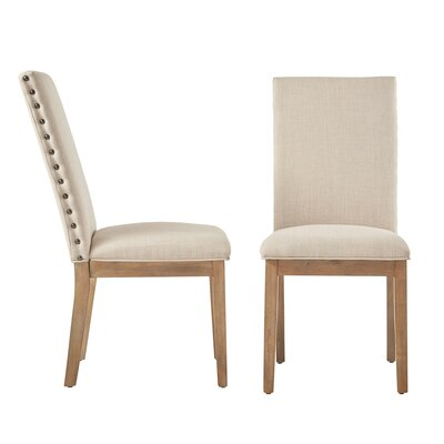Three Posts Tamarack Linen Nailhead Upholstered Dining Chair Upholstery Color: Beige