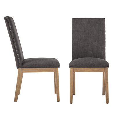 Tamarack Linen Nailhead Upholstered Dining Chair Upholstery Color: Dark Gray