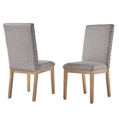 Tamarack Linen Nailhead Upholstered Dining Chair Upholstery Color: Gray