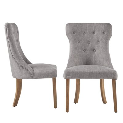 Tamarack Linen Tufted Upholstery Dining Chair Upholstery: Gray