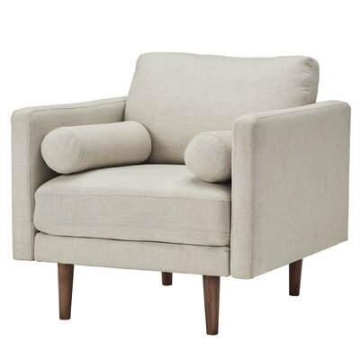 Desalvo Oatmeal Tweed Fabric Tapered Armchair