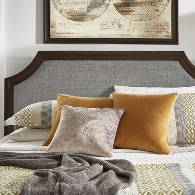 Linen Arched Bridge Upholstered Panel Headboard Color: Gray, Size: Queen