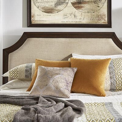 Linen Arched Bridge Upholstered Panel Headboard Color: Beige, Size: Full