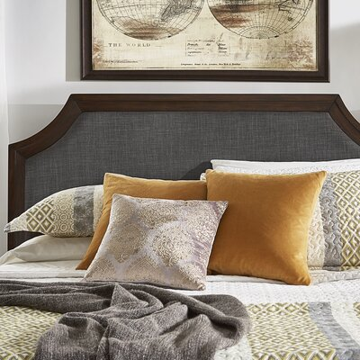 Linen Arched Bridge Upholstered Panel Headboard Color: Dark Gray, Size: King