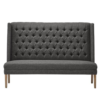 Solid Linen Tufted Upholstered Bedroom Bench Upholstery: Dark Gray