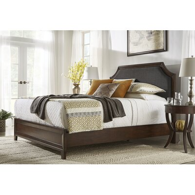 Linen Arched Bridge Upholstered Panel Bed Color: Dark Gray, Size: Full