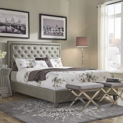 Caledonia Velvet Tufted Upholstered Panel Bed Size: King, Color: Silver/Gray